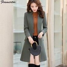 Высокая имитация элегантное шерстяное пальто зимняя женская куртка уникальная шикарная на пуговицах воротник стойка шерстяная верхняя одежда пальто Casaco Feminino