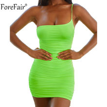ForeFair Off Shoulder Backless Sexy Club Bodycon Dress Women Summer Mini Strap Neon Dress(China)