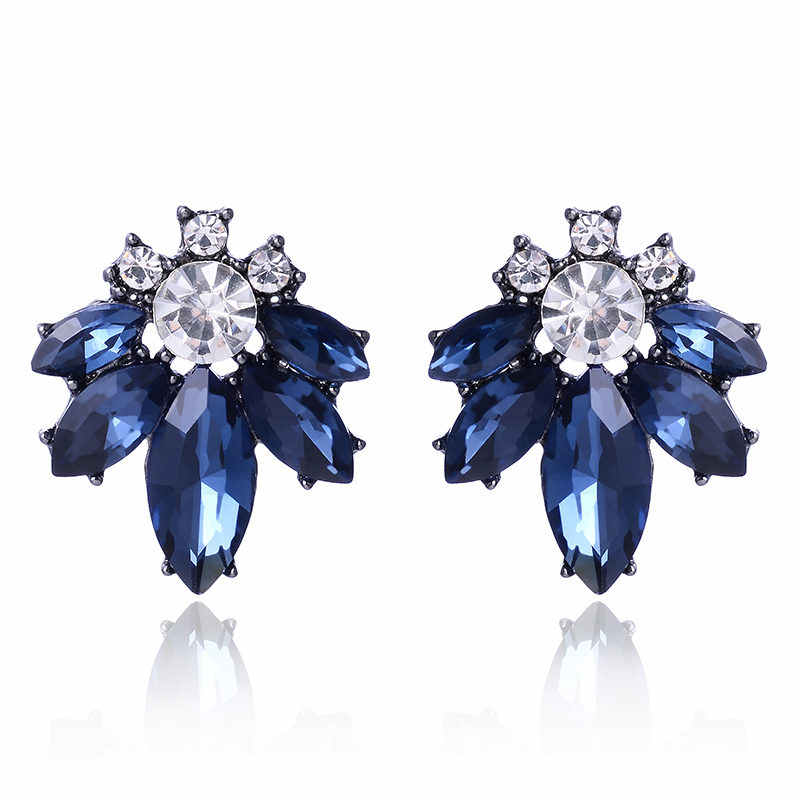 LUBOV Colorful Crystal Stone Women Piercing Earrings Rhinestone Inlaid Silver Color Metal Stud Earrings Christmas Gift Jewelry