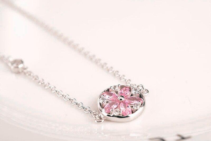 Silver Cherry Blossom Bracelet With Zircon Sakura Bangle Women 925 Sterling Jewelry 8