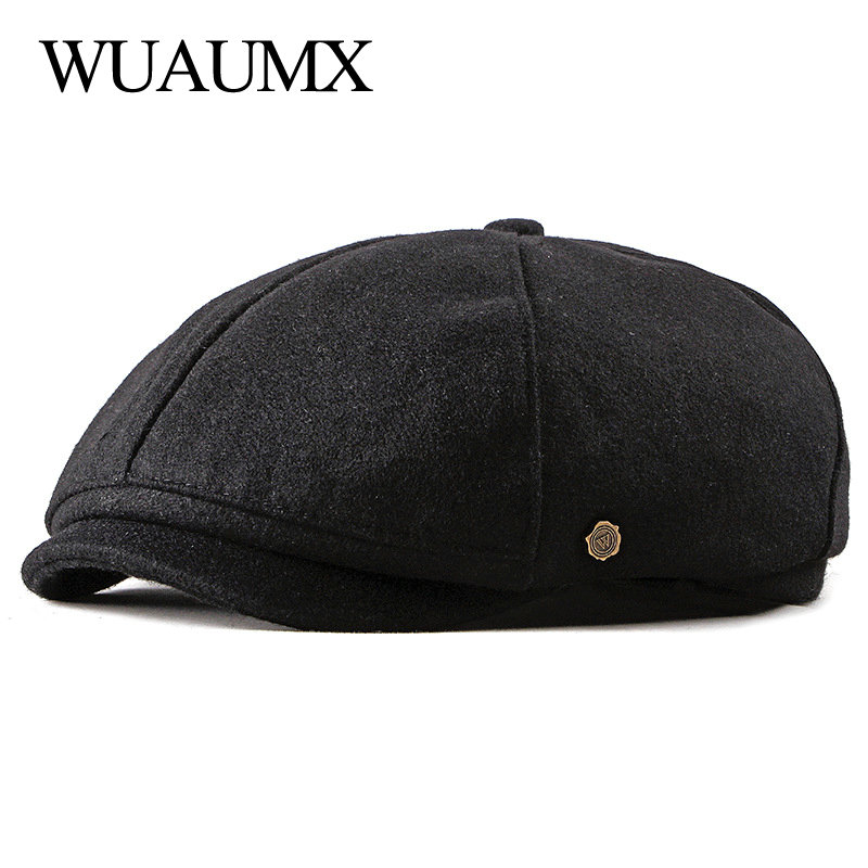 Wuaumx Brand Newsboy Caps Men Woolen Octagonal Hat Eight-blade Cap Black British Painters Autumn Winter Herringbone Flat Caps