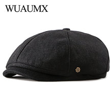 Wuaumx Brand Newsboy Caps Men Woolen Octagonal Hat Eight-blade Cap Black British Painters Autumn Winter Herringbone Flat