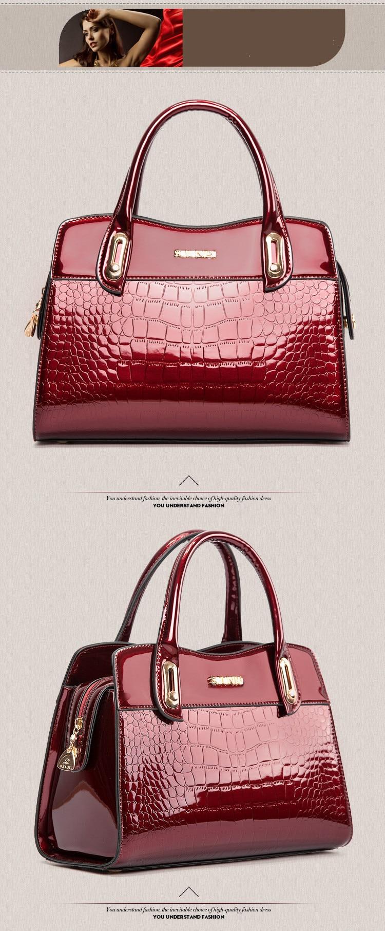 Designer handbag high-end counters solid patent leather women s handbags  alligater shoulder messenger bags luxury famous brand 84efb8eda374c