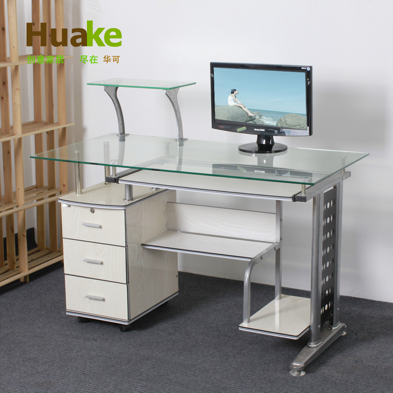 Small Long 120 * 60 * High 74cm Wide White Tempered Glass Computer Table  Desk With Three Drawers Study Desk In Computer Desks From Furniture On ... Part 98