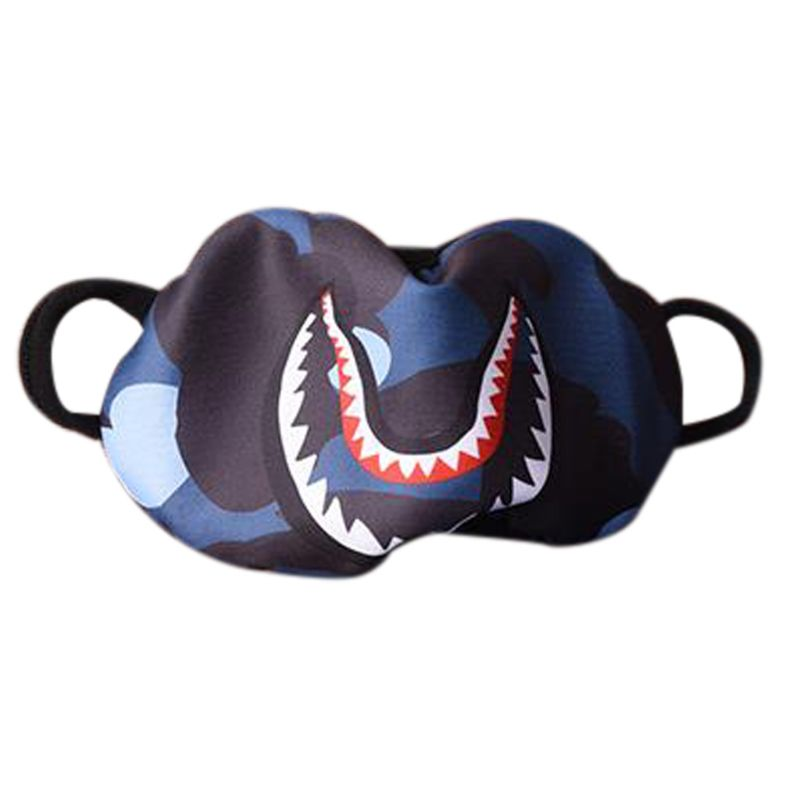 Women Men Hip Hop Trendy Half Face Mouth Mask Shark Colorful Camouflage Earloop Elastic Anti-Dust Kpop Muffle Protective Cover