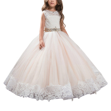 Kids Holy Communion Dresses For Wedding Birthday Party Bling Crystals Belt O Neck Bow Button Girls Long Pageant Gowns