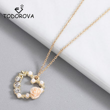 Todorova Imitation Pearl Rose Flower Rhinestone Love Heart Pendant Necklaces for Women Jewelry Statement Necklace Wedding Gift