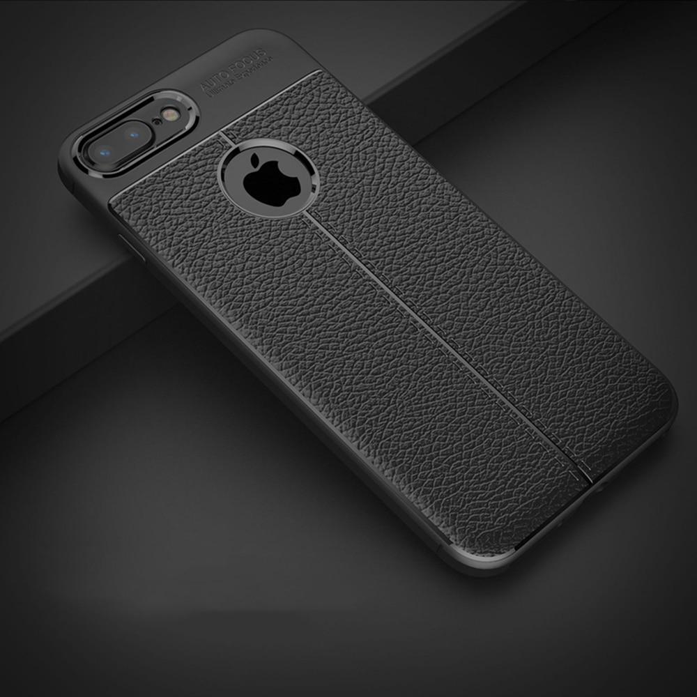 Ретро кожа чехол для Apple iphone 8 iphone 8 Роскошные Тонкий тонкий мягкий Силиконовый ТПУ черный задняя крышка для iphone 8 плюс Чехол