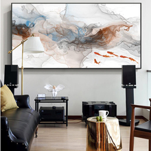 Traditional Chinese Abstract Posters and Prints Wall Art Canvas Painting Imagery Goldfish in the Water Pictures for Living Room