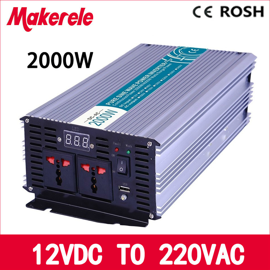 цена на pure sine wave power inverter 12v 220v 2000w high efficient off grid voltage solar converter LED Display MKP2000-122