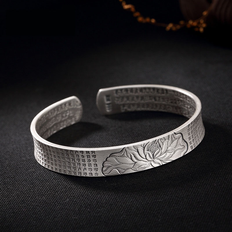 L&P New Arrival 999 Sterling Silver The Lotus Sutra Bangle For Women Tibet Tibetan style Handmade Vintage Silver Bracelets vacuum pump inlet filters f007 7 rc3 out diameter of 340mm high is 360mm