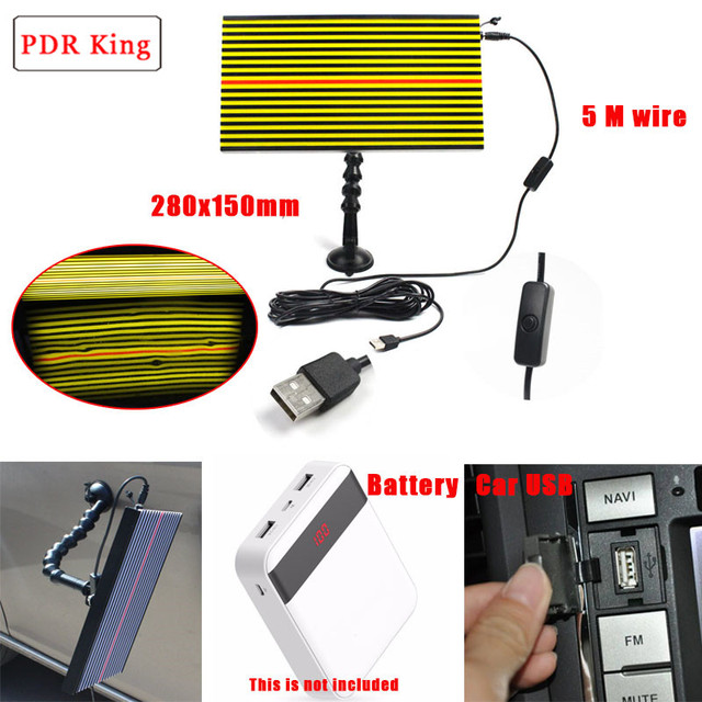Auto Body Lamp Paintless Dent Repair LED Light PDR Tools 3 Strips LED Lights PDR light with 360 degree suction cups with holder