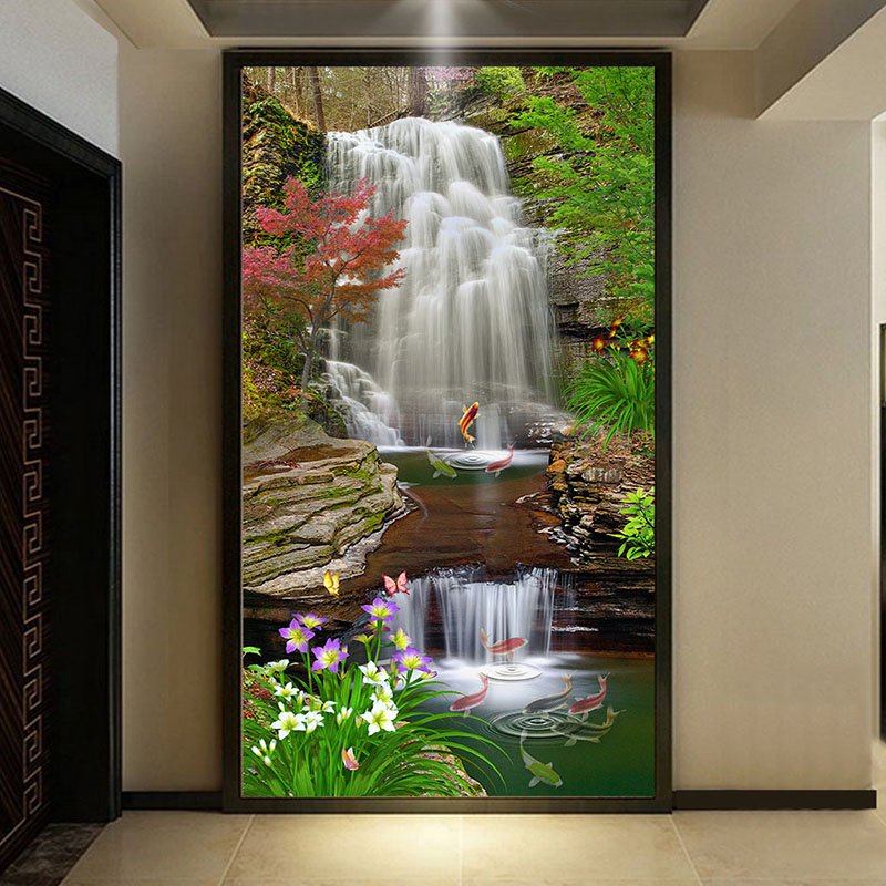 Us 9 06 43 Off Custom Mural Wallpaper 3d Waterfall Entrance Background Wall Decor Wall Painting Nature Landscape Wallpaper Murales De Pared 3d In