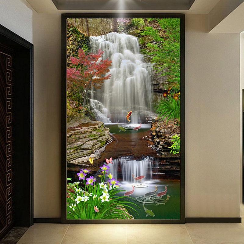 Custom Mural Wallpaper 3D Waterfall Entrance Background Wall Decor Wall Painting Nature Landscape Wallpaper Murales De Pared 3D
