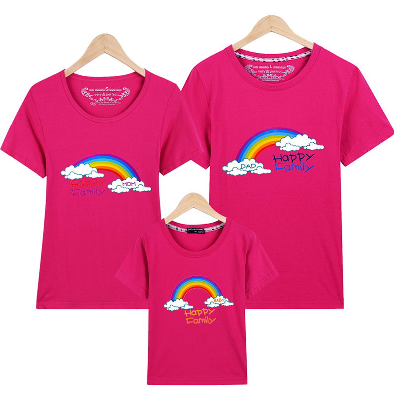 AD Rainbow Family T shirts Quality Cotton Summer Style Matching Mother and Daughter Father and Son Clothes Mommy and Me Clothes