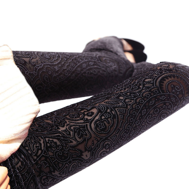 2017 new fashion sexy fashion women Spring Autumn leggings lace see-through hollow out thin women foot trousers free shipping