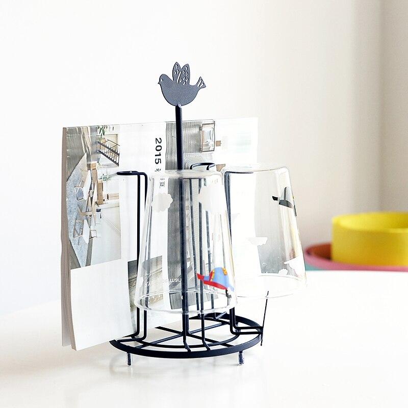 Vintage Kitchen Cup Mug Glass Holder Rack Metal 5 Cups Drying Rack Stand