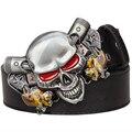 Salvaje exagerado estilo demonio payaso Joker Poker cinturón cinturones de hebilla de metal cráneo correa de cuero de Los Hombres de hip hop de la pretina