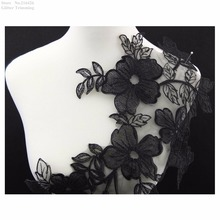 Free Shipping 1PC x Long Black Flower Organza Base Embroidery Neckline Lace Applique Trimmings Collar Sewing DIY Crafts BNC30M