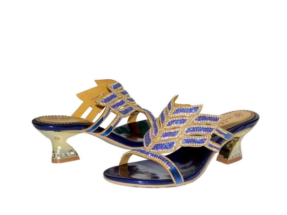 Slip Femmes Sabot Banquet sur 04 Mode Talons Robes Mujer Luxe Soirée Chaussures 03 Strass Sandales Ouvert De 02 Marque 01 Toe Zapatos vwq7xB4t