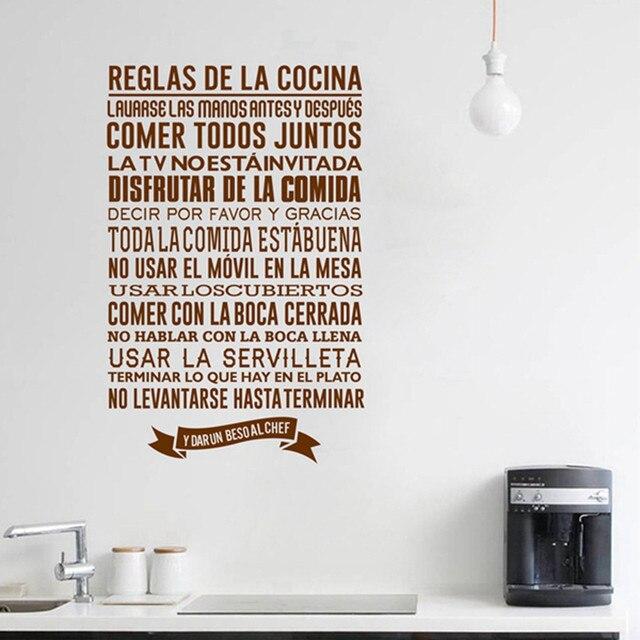 Spanisch küche Regeln Wandaufkleber, DIY Vinyl Wandtattoos Spanisch ...