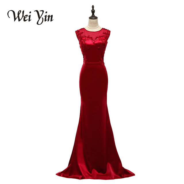 WeiYin Red Black Crystal Beaded Long Mermaid Prom Dresses 2017 Evening Gown  Dresses Elegant Jersey Sleeveless Robe De Soiree f8fbb3ccd2f0