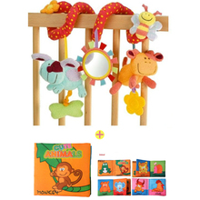 Cute Infant Babyplay Cartoon Animal Hanging Bell Crib Rattle Cloth Book Activity Spiral Bed & Stroller Toy Set Revolves Baby Toy