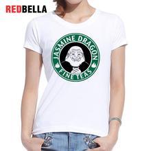 REDBELLA T Shirt Women Harajuku Kawaii Printed Funny Characters Dragon Hipster White Vintage T-shirt Clothing Basic Polera Mujer