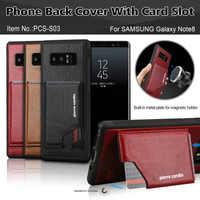 Pierre Cardin Téléphone étuis pour Samsung Galaxy Note 8 étui cuir en véritable Pour Samsung Galaxy Note 8 Retour porte-carte Cas