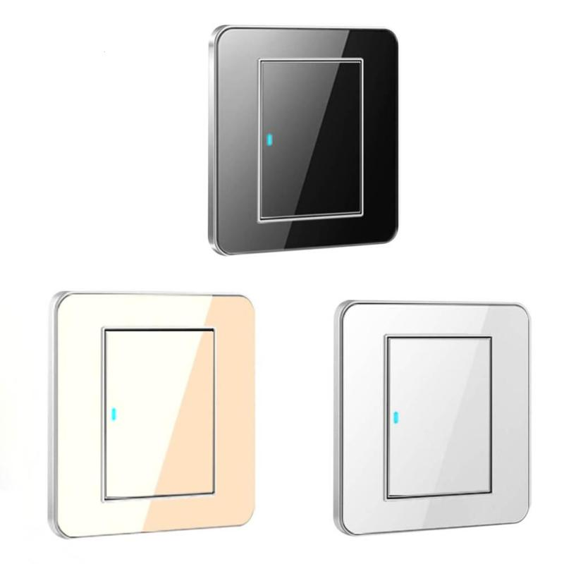 цена на 86 Wall Light Switch 1 Gang Single/Double Control Switch Touch Screen Acrylic Crystal Mirror Panel LED Indicator Light S3