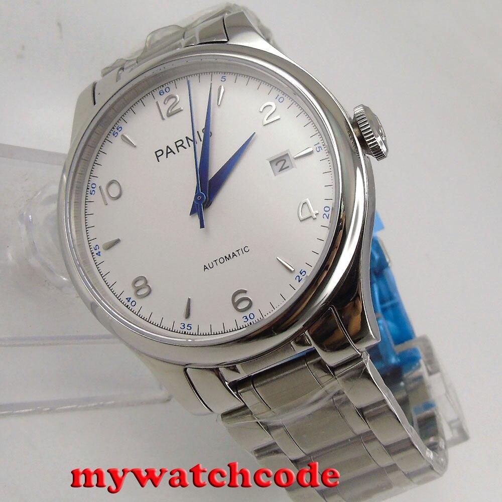 38mm Parnis blanco fecha zafiro cristal miyota automático hombre reloj P723-in Relojes deportivos from Relojes de pulsera    1