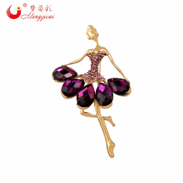 New Arrival Purple Crystal Ballerina Brooch Dancer Girl Broach Female Coat Broches Pin Women Lapel Pin