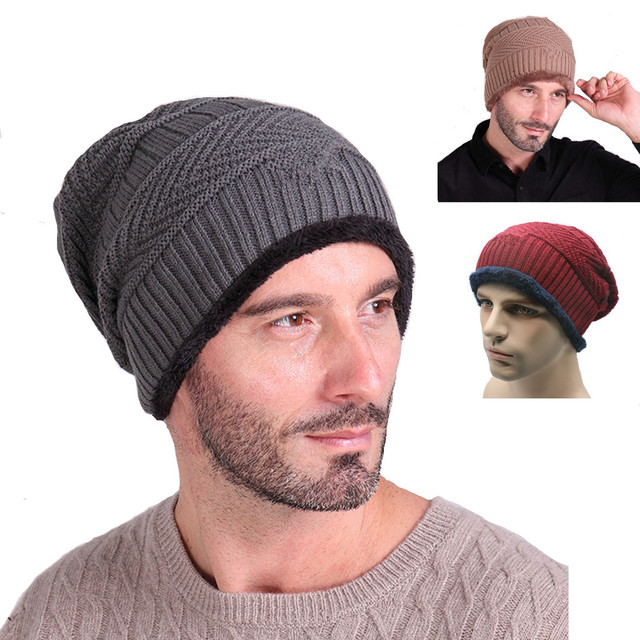 5a7294ff3016e Beanie Hat Men Winter Skullies Fur Wool Knitted Hat Gorro invierno hombre  costume One Piece Caps