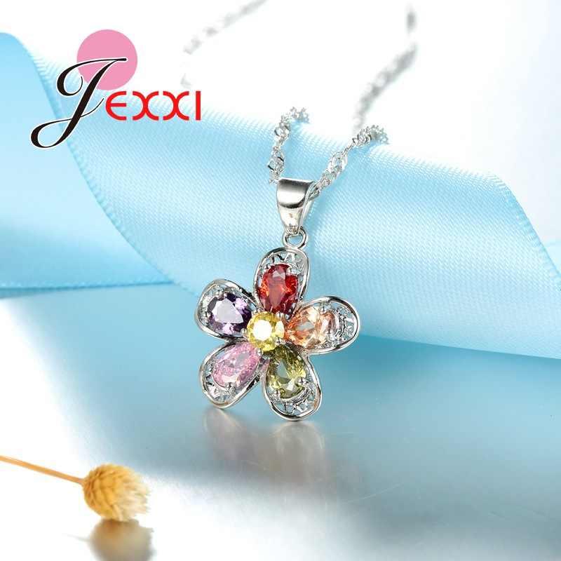Shinning CZ Kristall Anhänger Schmuck Sets Charme Blume Für Frauen Geschenk 925 Sterling Silber Halskette + Ohrringe Set Großhandel