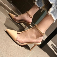 Fashion women high heels 2019 new high-heeled pointed T-word with wild transparent female sandals one-button buckle ladies shoes 2018 summer new sandals female hollow word buckle high heeled shoes high heels wild with a single shoes women s shoes f072