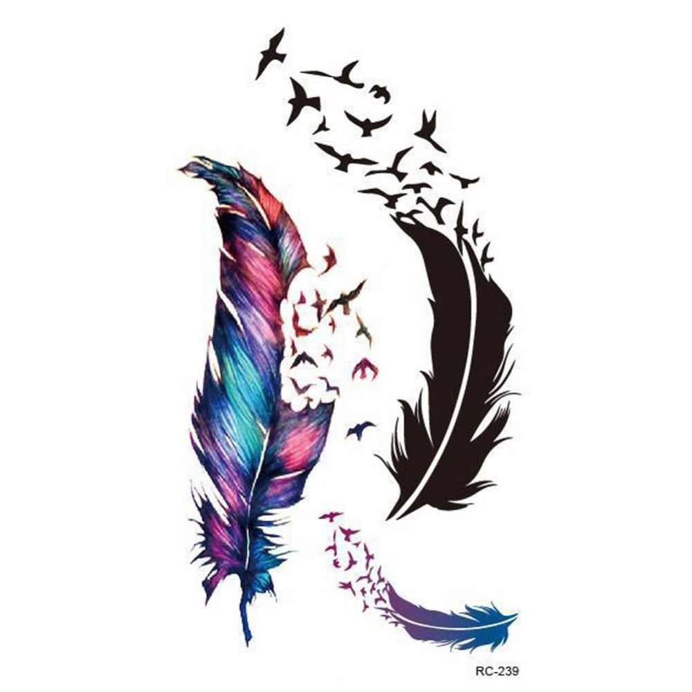 1 Sheet Colorful Fashion Trendy Charming Body Accessories Waterproof Small Fresh Wild Goose Feather Pattern Tattoo Stickers