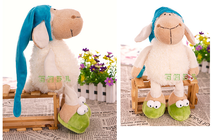 Super cute 1pc 35cm sheep sleepy hat frog slipper cartoon plush animal doll hold pillow stuffed