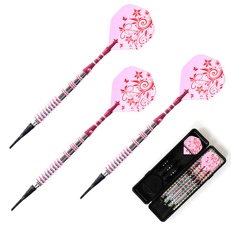 3 PCS/Set Pink Flower High Quality 17 Grams Soft Tip Darts Iron Darts Professional Darts SET Safety Indoor Sport Game Best Gift