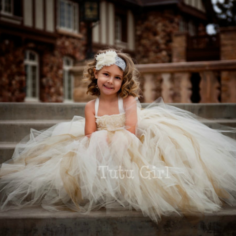 Petit Dream Flower Girl Tutu Dress Vintage Wedding 2 10y Kids Girl Ivory Flower Dress Baby Girl Clothes Birthday Party Photo