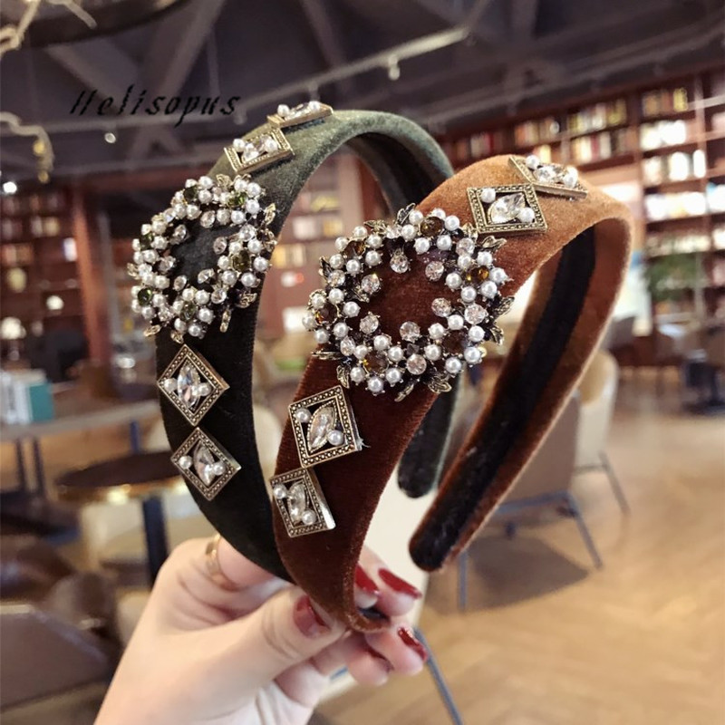 Helisopus Korean New Hairband Retro Velvet Pearl Headbands for Women Wide-edged Hair Hoop Girls Hair Accessories slipper