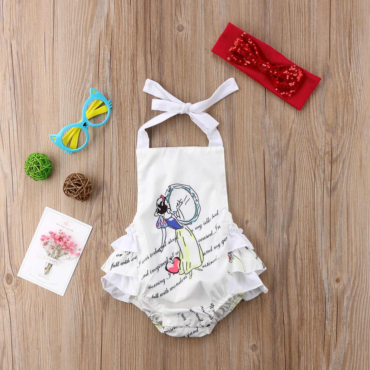 Recién Nacido bebé niña dibujos animados sin espalda lentejuelas arco Halter mono ropa traje