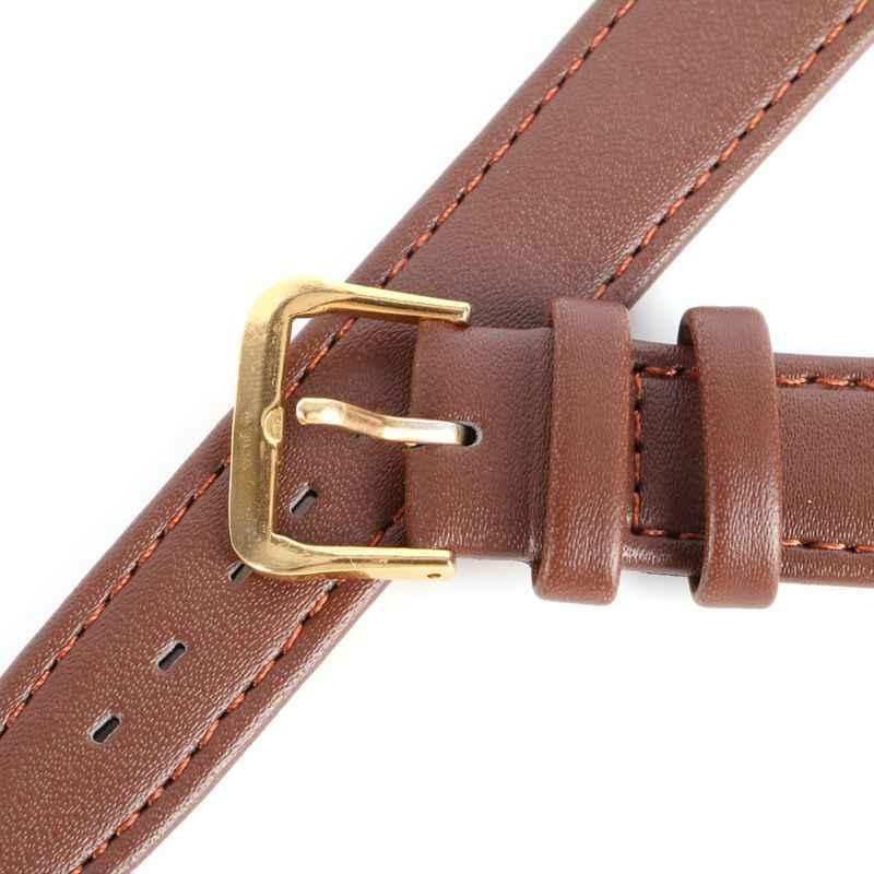 """הכי חדש אופנה גברים נשים עמיד רך פין אבזם שעון רצועת עור מפוצל רצועת השעון שחור & קפה 12-20 מ""""מ"""