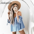 Jiekanila New Elegant bow blue off shoulder female blouse shirt Sexy summer 2017 Fashion girls blouse Women tops striped blusa