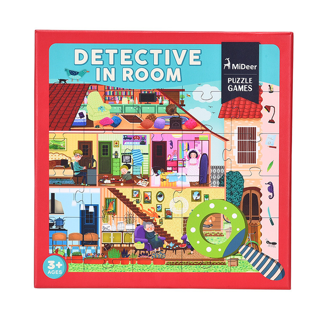 Mideer 42PCS Detective In Room Large Cartoon Paper Detective In Space Children Puzzle Creative Toy with Magnifier Gifts