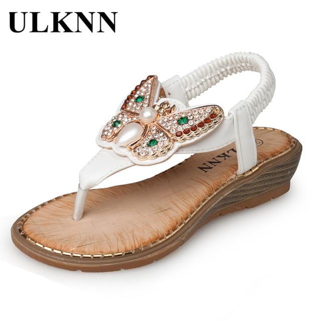 ULKNN 2018 Girls Shoes Beach Sandals Butterfly Pearl Glitter Shoes Ankle- Wrap enfant Kids Female School Sandals princess white