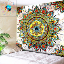 Chic Bohemian Fabric Mandala Floral Carpet Indian Wall Hanging Tapestry Home Decor Fashion Tribal Beach Towel Yoga Shawl Mat(China)