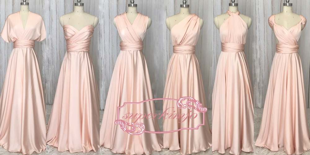 Superkimjo convertible Vestidos de dama de honor 2018 largo Rosa ...