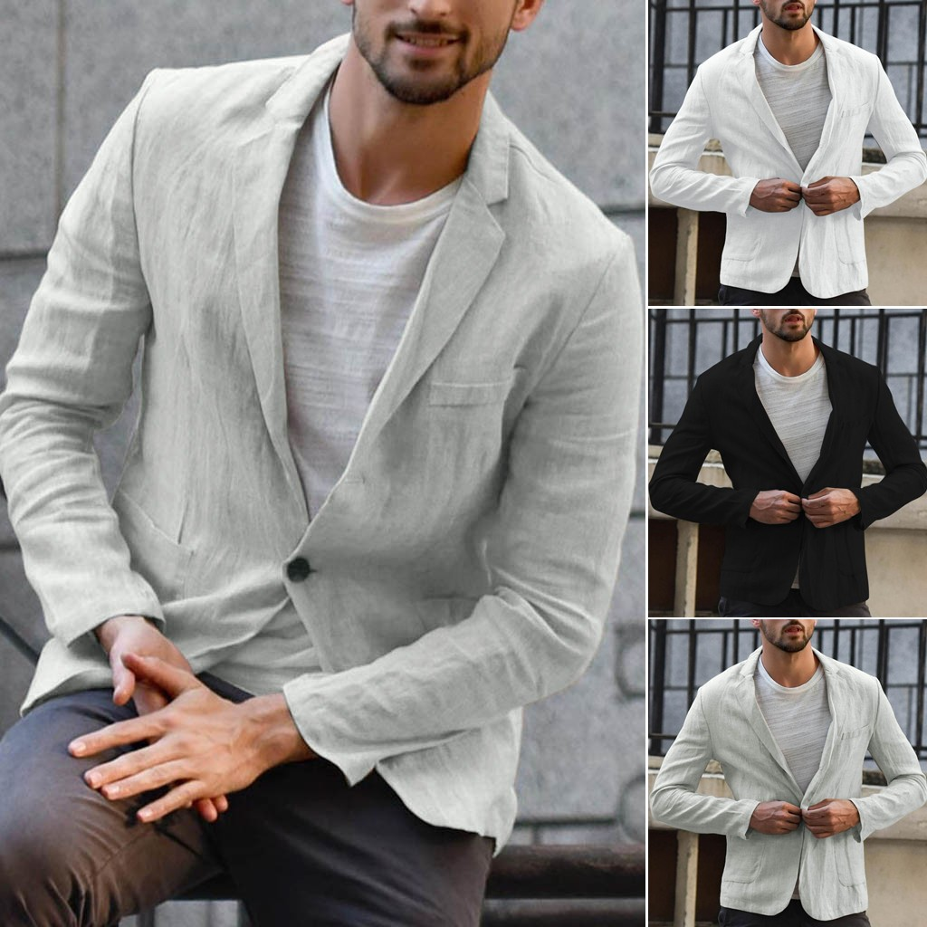 Jacket Suits Blazer Blend-Pocket Linen Long-Sleeve Solid Men's Autumn Outwear Slim-Fit