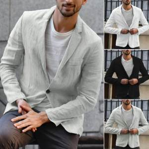 Jacket Suits Linen Long-Sleeve Outwear Blazer Blend-Pocket Autumn Slim-Fit Thin