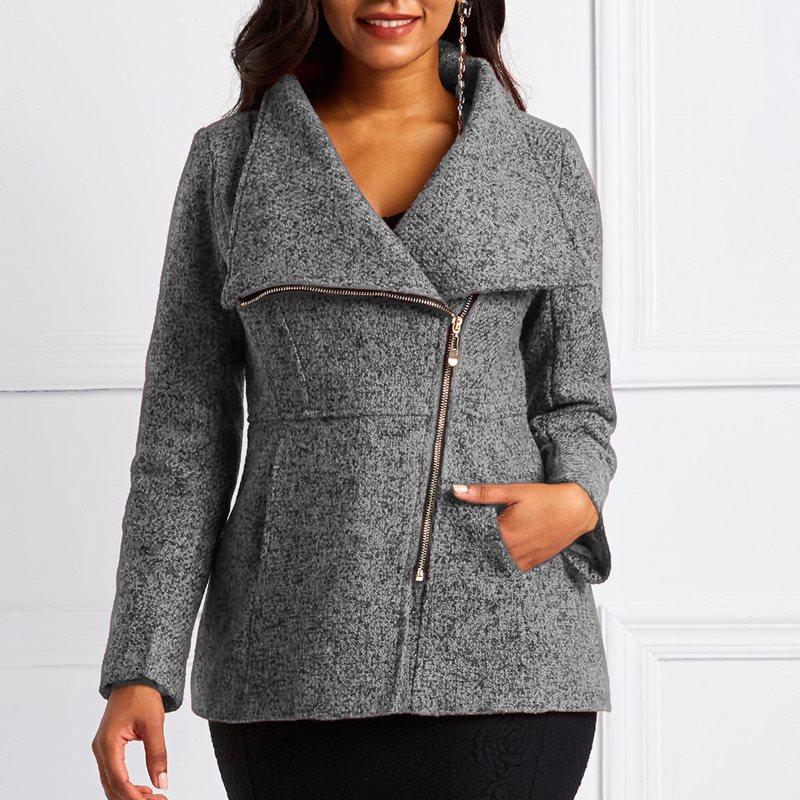 Jackets Women Coats Slim Female Autumn Winter Fashion Ladies Elegant Wool Casual Zipper